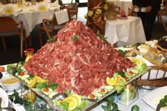 Meat pyramid Easter brunch